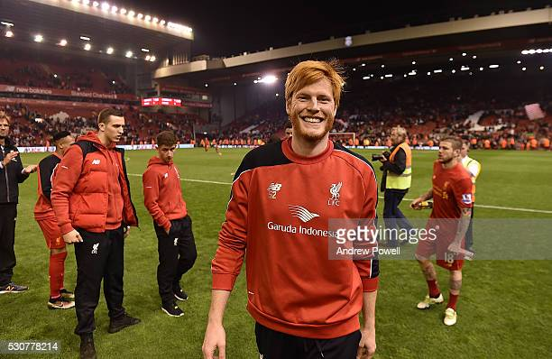 Adam Bogdan of Liverpool shows his appreciation to the fans at the end of the Barclays Premier League match between Liverpool and Chelsea at Anfield...