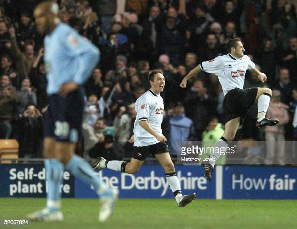 Adam Bolder of Derby celebrates his goal during the CocaCola Championship match between Derby County and Leeds United at Pride Park on January 26...