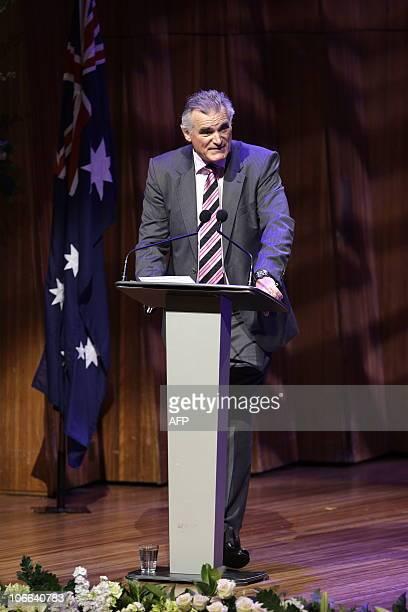 Adam Bonynge the son of Australian opera legend Dame Joan Sutherland speaks during her memorial service at the Sydney Opera House on November 9 2010...