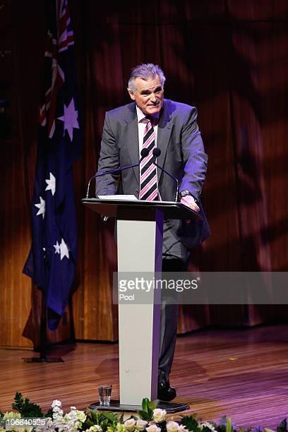 Adam Bonynge the son of Dame Joan Sutherland speaks during the Dame Joan Sutherland Memorial Service at the Sydney Opera House on November 9 2010 in...