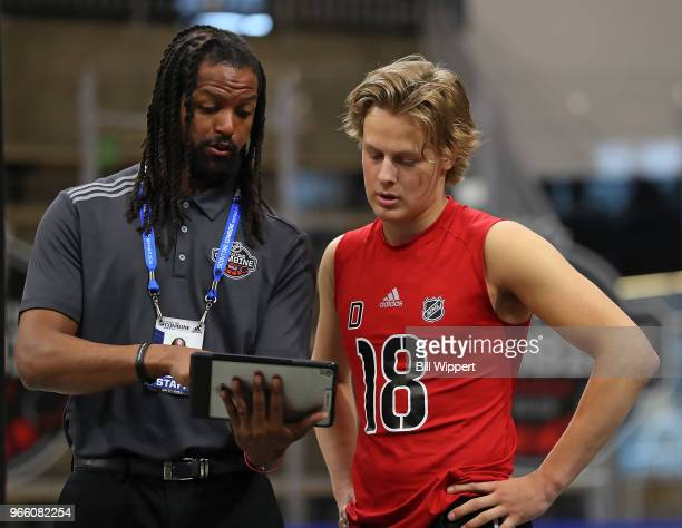 Adam Boqvist is instructed during the NHL Scouting Combine on June 2 2018 at HarborCenter in Buffalo New York