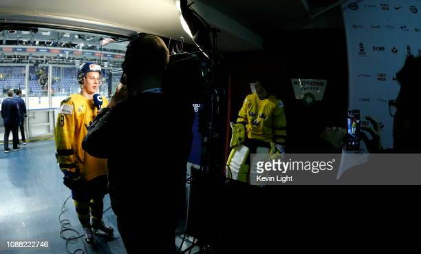 Adam Boqvist of Sweden in interviewed following an overtime win versus the United States at the IIHF World Junior Championships at the SaveonFoods...