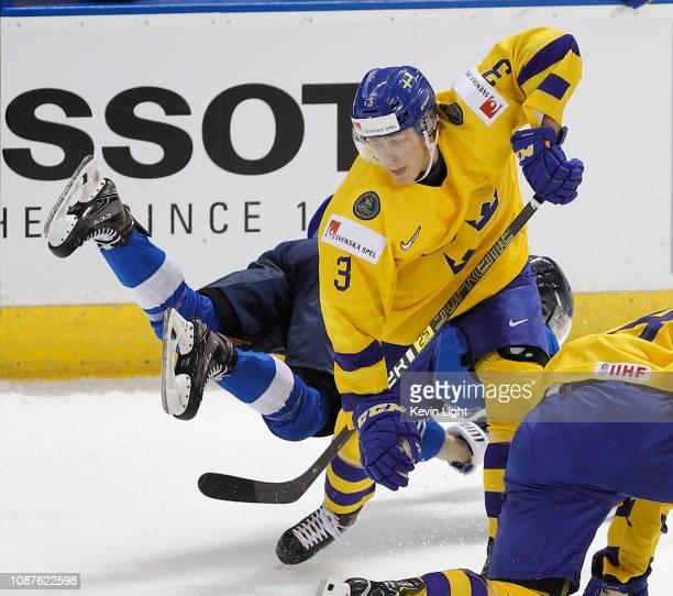 Adam Boqvist of Sweden versus Finland at the IIHF World Junior Championships at the SaveonFoods Memorial Centre on December 26 2018 in Victoria...