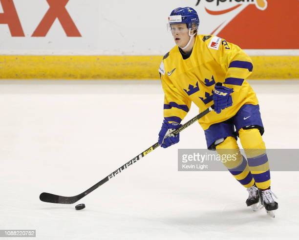 Adam Boqvist of Sweden versus the United States at the IIHF World Junior Championships at the SaveonFoods Memorial Centre on December 29 2018 in...