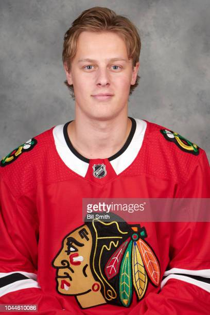 Adam Boqvist of the Chicago Blackhawks poses for his official headshot for the 20182019 season on September 14 2018 at the United Center in Chicago...