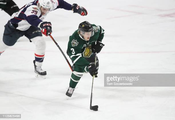 Adam Boqvist of the London Knights attacks with the puck in the second period during OHL game action against the Windsor Spitfires at Budweiser...
