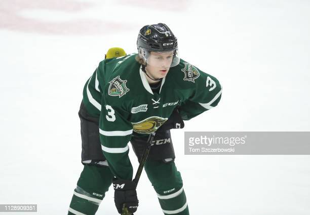 Adam Boqvist of the London Knights lines up in the second period during OHL game action against the Owen Sound Attack at Budweiser Gardens on...
