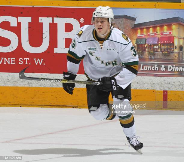 Adam Boqvist of the London Knights skates against the Peterborough Petes in an OHL game at the Peterborough Memorial Centre on February 21 2019 in...