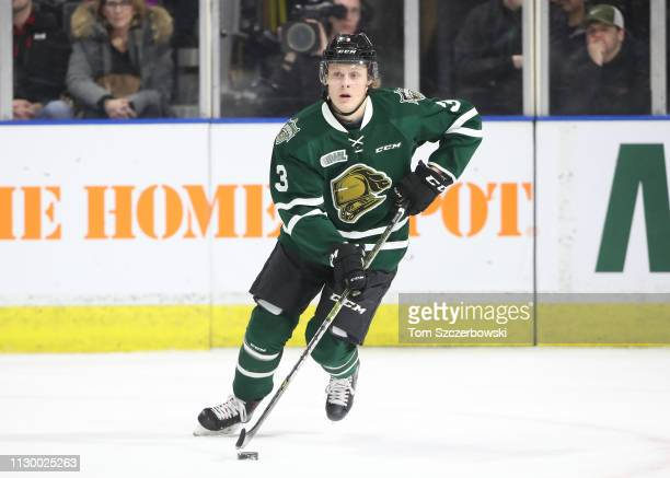 Adam Boqvist of the London Knights skates out with the puck in the first period during OHL game action against the Guelph Storm at Budweiser Gardens...