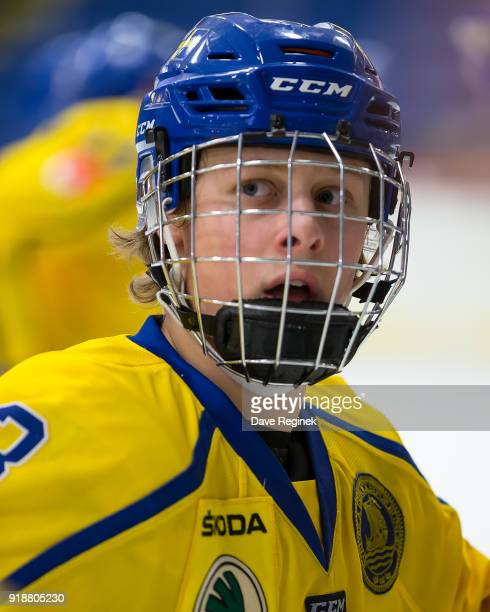 Adam Boqvist of the Sweden Nationals looks down the ice against the Finland Nationals during the 2018 Under18 Five Nations Tournament game at USA...