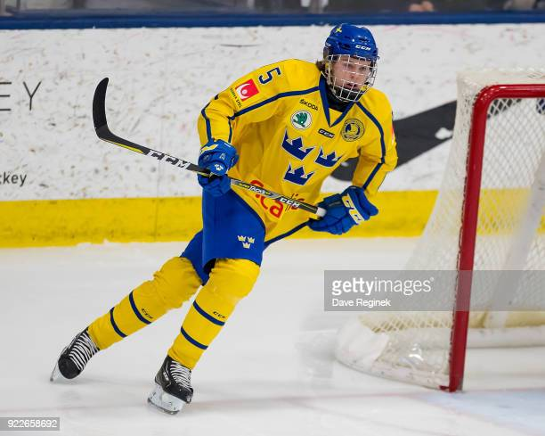 Adam Boqvist of the Sweden Nationals turns up ice against the Finland Nationals during the 2018 Under18 Five Nations Tournament game at USA Hockey...