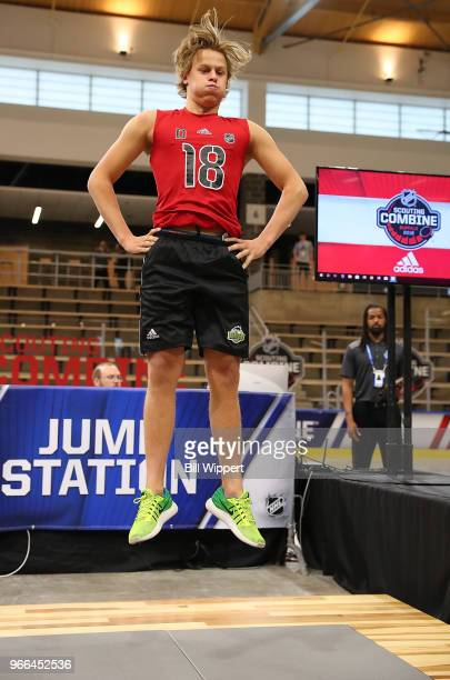 Adam Boqvist performs at the jump station during the NHL Scouting Combine on June 2 2018 at HarborCenter in Buffalo New York
