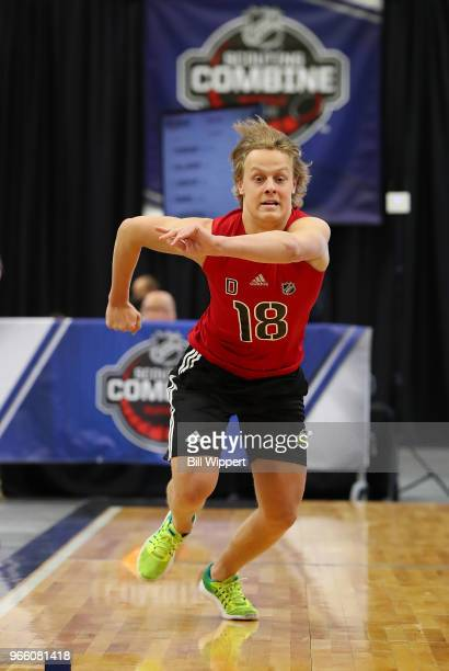 Adam Boqvist performs the pro agility test during the NHL Scouting Combine on June 2 2018 at HarborCenter in Buffalo New York