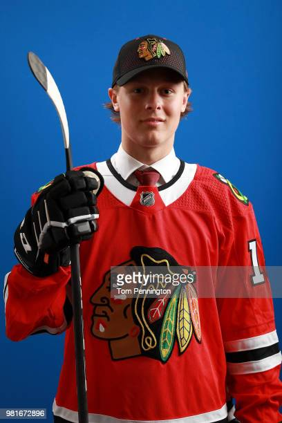 Adam Boqvist poses after being selected eighth overall by the Chicago Blackhawks during the first round of the 2018 NHL Draft at American Airlines...