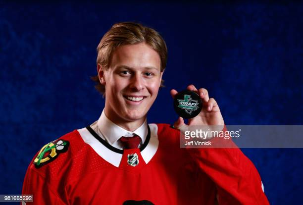 Adam Boqvist poses for a portrait after being selected eighth overall by the Chicago Blackhawks during the first round of the 2018 NHL Draft at...