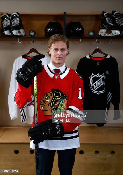 Adam Boqvist poses for a portraitafter being selected eighth overall by the Chicago Blackhawks during the first round of the 2018 NHL Draft at...