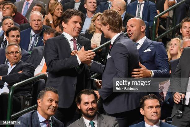 Adam Boqvist reacts after being selected eighth overall by the Chicago Blackhawks during the first round of the 2018 NHL Draft at American Airlines...