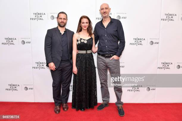 Adam Bousdoukos Viky Papadopoulou and Marios Piperides attend the screening of 'Smuggling Hendrix' during the Tribeca Film Festival at Cinepolis...