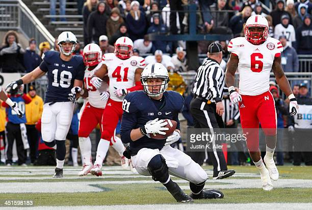 Adam Breneman of the Penn State Nittany Lions catches a 2 yard touchdown pass against the Nebraska Cornhuskers during the game on November 23 2013 at...