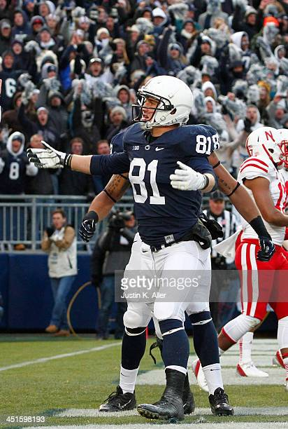 Adam Breneman of the Penn State Nittany Lions celebrates after catching a 2 yard touchdown pass against the Nebraska Cornhuskers during the game on...