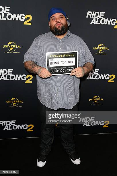 Adam Briggs of Hilltop Hoods arrives ahead of the Ride Along 2 Australian Premiere at Hoyts Melbourne Central on February 10, 2016 in Melbourne,...