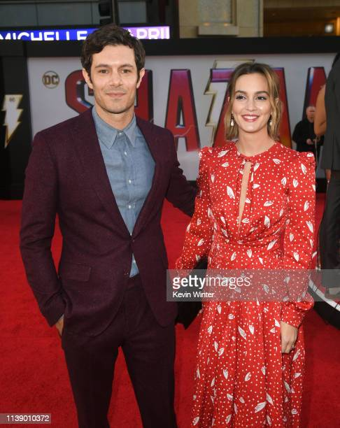 Adam Brody and Leighton Meester arrive at the world premiere of Warner Bros Pictures and New Line Cinema's SHAZAM at TCL Chinese Theatre on March 28...