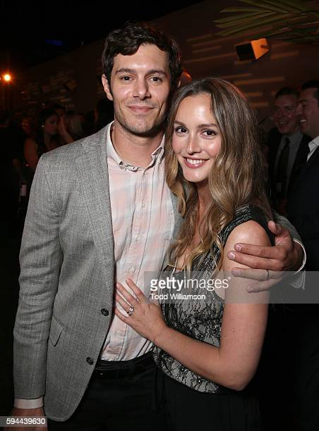 Adam Brody and Leighton Meester attend the after party for the premiere pf Crackle's 'Startup' on August 23 2016 in Los Angeles California