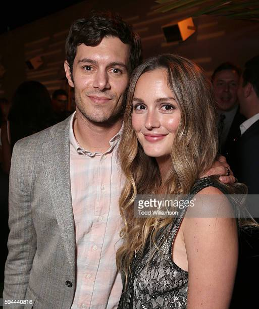 Adam Brody and Leighton Meester attend the after party for the premiere pf Crackle's Startup on August 23 2016 in Los Angeles California