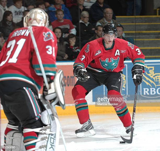 Adam Brown and Tyler Myers of the Kelowna Rockets defend the net against the Prince George Cougars at Prospera Place on October 11 in Kelowna Canada...