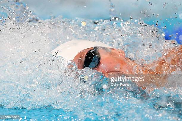 Adam Brown of Great Britain prepares to compete during the Swimming Men's 100m Freestyle preliminaries heat eight on day twelve of the 15th FINA...