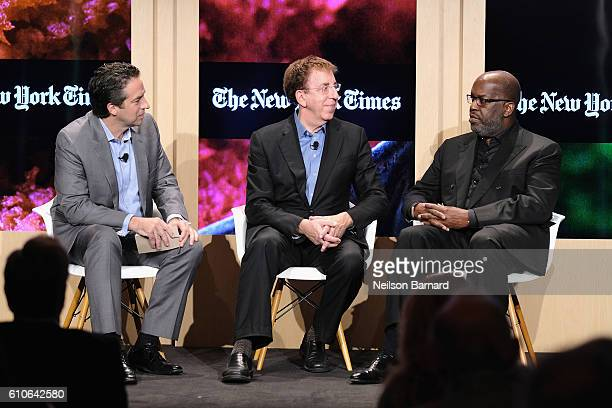 Adam Bryant Dr Dean Ornish and Bernard J Tyson speaks onstage at Carrots Sticks and Treadmills panel at The New York Times Food For Tomorrow...