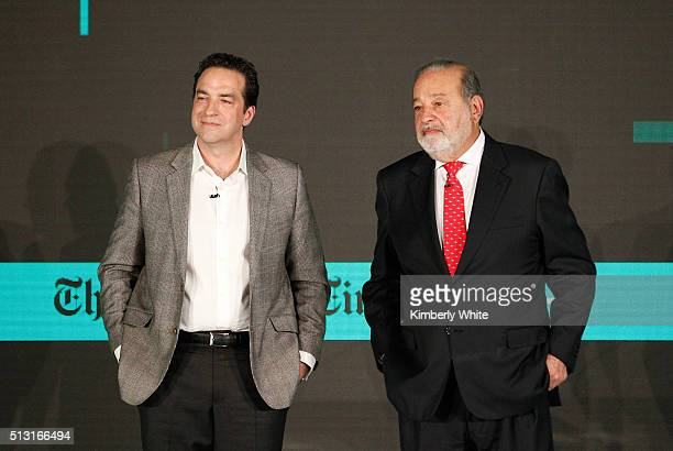 Adam Bryant of The New York Times left and Carlos Slim Helu Chairman of Grupo Carso speak onstage at The New York Times New Work Summit on February...