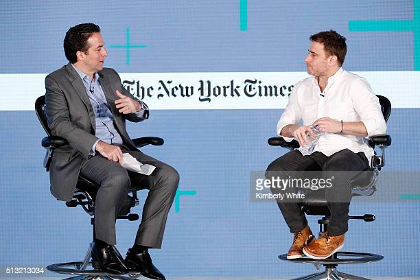 Adam Bryant The New York Times Columnist and Stewart Butterfield CEO of Slack speak onstage at The New York Times New Work Summit on March 1 2016 in...