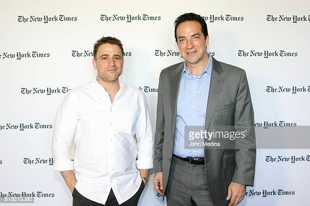 Adam Bryant The New York Times Columnist and Stewart Butterfield CEO of Slack attend The New York Times New Work Summit on March 1 2016 in Half Moon...