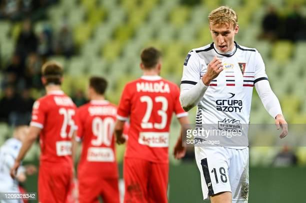 Adam Buksa of Pogon in action during the Polish Ekstraklasa match between Lechia Gdansk and Pogon Szczecin at Stadion Energa Gdask stadium