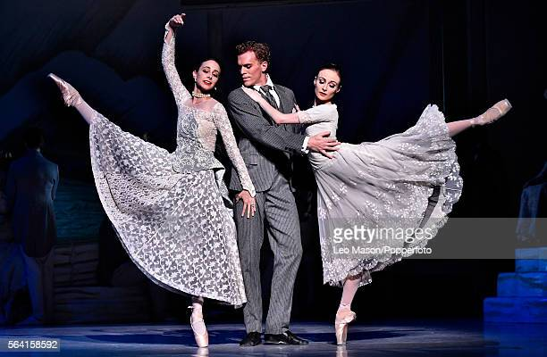 Adam Bull as Prince Siegfried, Amber Scortt as Odette and Dimity Azoury as Baroness Von Rothbart of The Australian Ballet company performing SWAN...