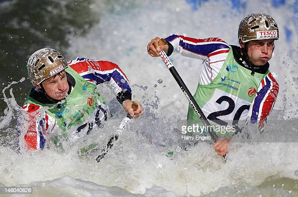 Adam Burgess Greg Pitt of Great Britain compete in the Men's C2 semi final during the ICF Canoe Slalom World Cup at Cardiff International White Water...