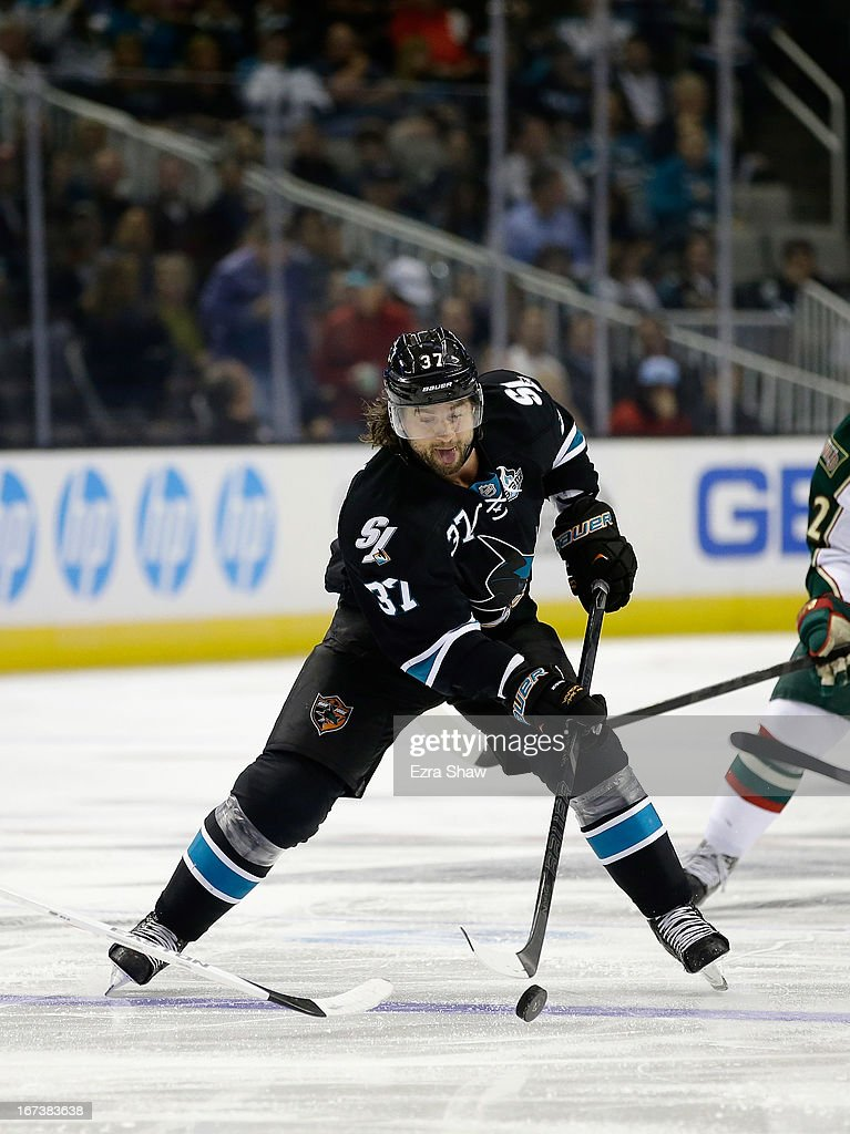 Adam Burish #37 of the San Jose Sharks in action against the Minnesota Wild at HP Pavilion on April 18, 2013 in San Jose, California.