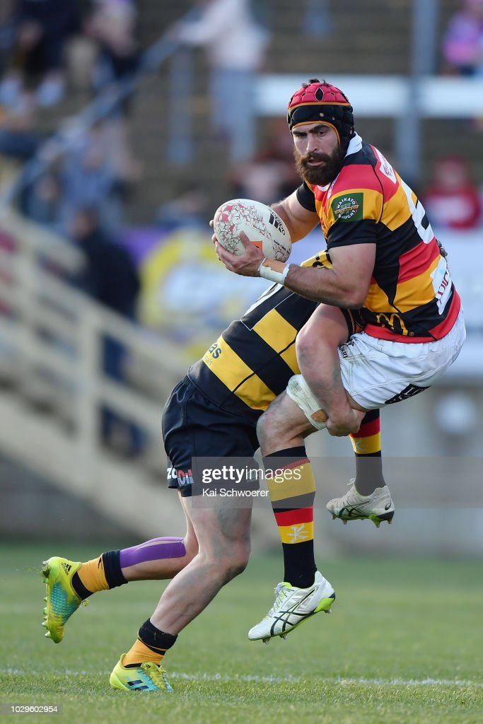Adam Burn of Waikato is tackled during the round four Mitre 10 Cup Ranfurly Shield match between Taranaki and Waikato at Yarrow Stadium on September 9, 2018 in New Plymouth, New Zealand.