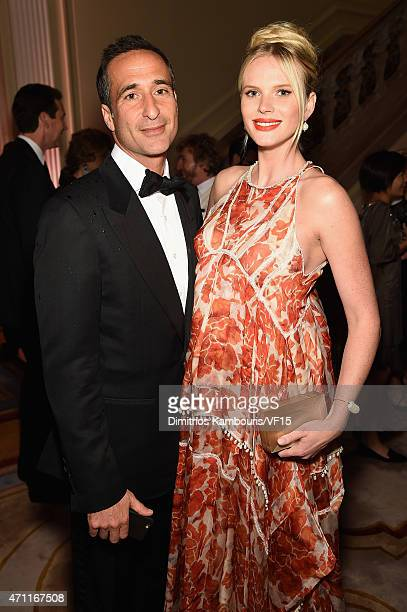 Adam Cahan and Anne Vyalitsyna attend the Bloomberg Vanity Fair cocktail reception following the 2015 WHCA Dinner at the residence of the French...