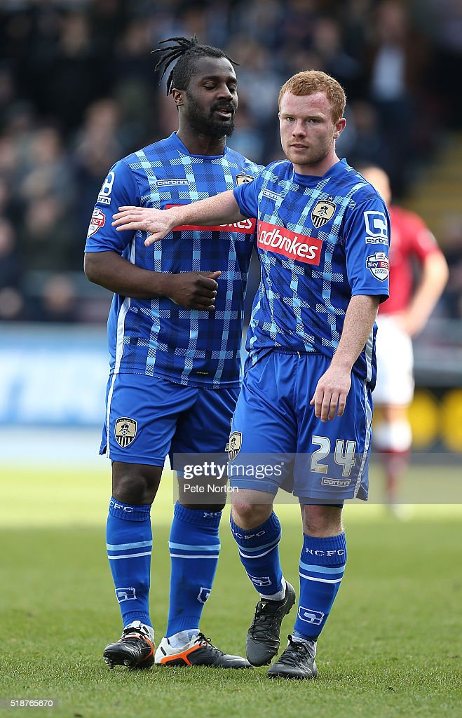 Adam Campbell and Stanley Aborah of Notts County in action during the Sky Bet League Two match between Northampton Town and Notts County at Sixfields Stadium on April 2, 2016 in Northampton, England.