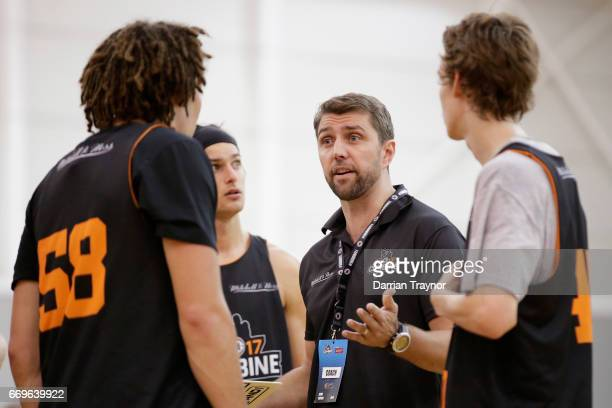Adam Caporn gives indtuctions during the NBL Combine 2017/18 at Melbourne Sports and Aquatic Centre on April 18 2017 in Melbourne Australia