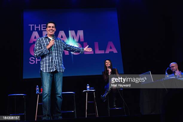 Adam Carolla Alison Rosen and Bald Bryan speak while recording a podcast on stage at the Neptune Theater on October 12 2013 in Seattle Washington