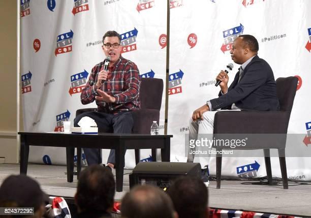Adam Carolla and Roy Wood Jr. At 'The Adam Carolla Show' panel during Politicon at Pasadena Convention Center on July 29, 2017 in Pasadena,...