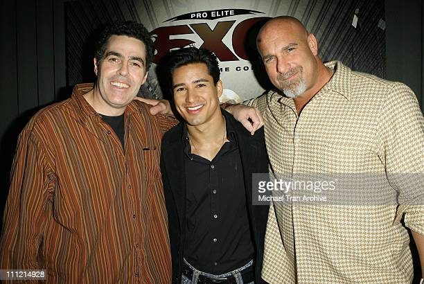 Adam Carolla Mario Lopez and Bill Goldberg during Showtime and Pro Elite Unveil the Next Generation of Mixed Martial Arts December 14 2006 at...