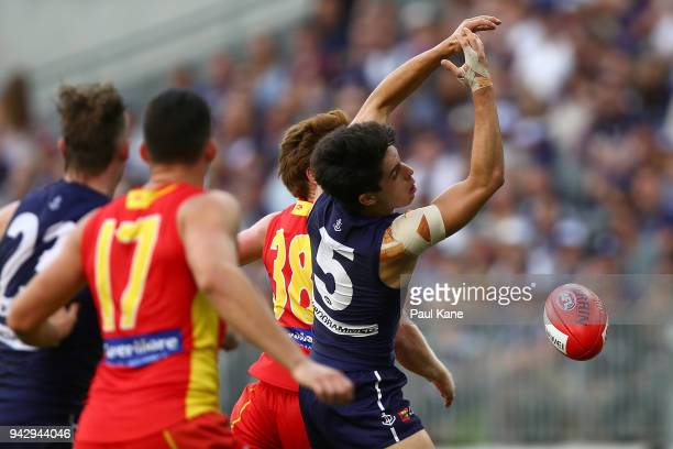 Adam Cerra of the Dockers misses a mark during the round three AFL match between the Gold Coast Suns and the Fremantle Dockers at Optus Stadium on...