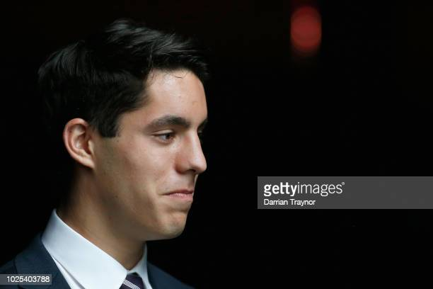 Adam Cerra of the Dockers speaks to the media during the 2018 AFL Rising Star Award at MAIA on August 31 2018 in Melbourne Australia