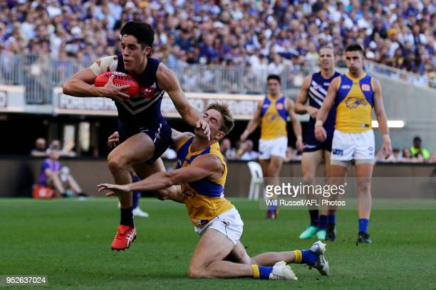 Adam Cerra of the Dockers tackles Brad Sheppard of the Eagles during the Round 6 AFL match between the Fremantle Dockers and West Coast Eagles at...