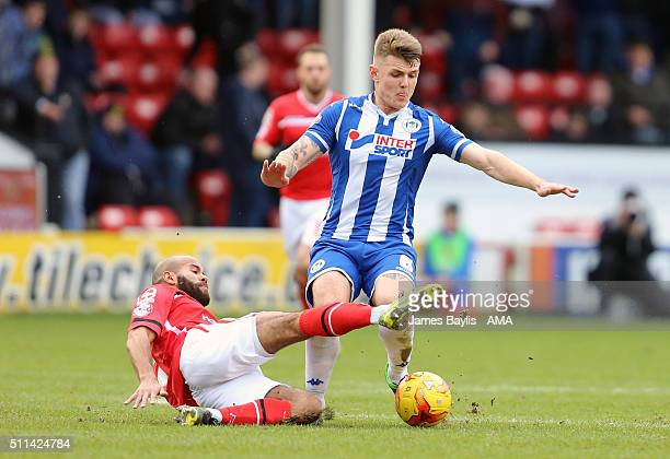 Adam Chambers of Walsall and Max Power of Wigan Athletic during the Sky Bet League One match between Walsall and Wigan Athletic at Bescot Stadium on...