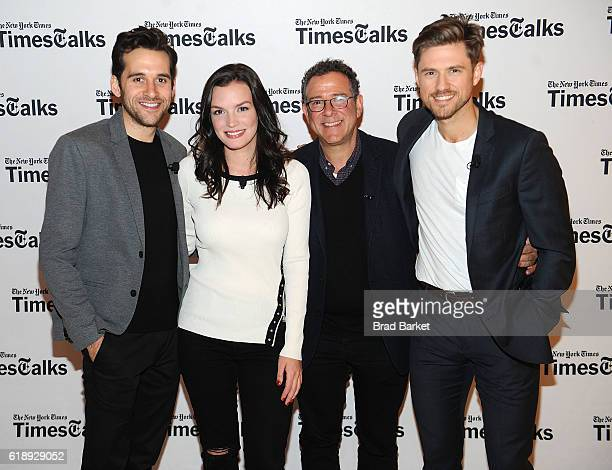 Adam ChanlerBerat Jennifer Damiano Michael Greif and Aaron Tveit attend TimesTalks Featuring Director Michael Greif With Ben Platt Aaron Tveit...